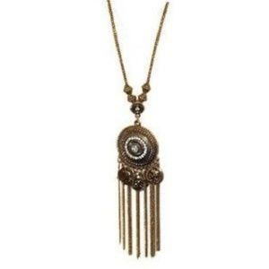Jewelry - Rhinestone Fringe Medallion Necklace